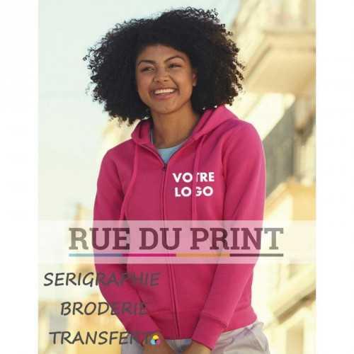 Sweat shirt publicité femme Fit 280 g/m2 70% coton ringspun, 30% polyester capuche doublée