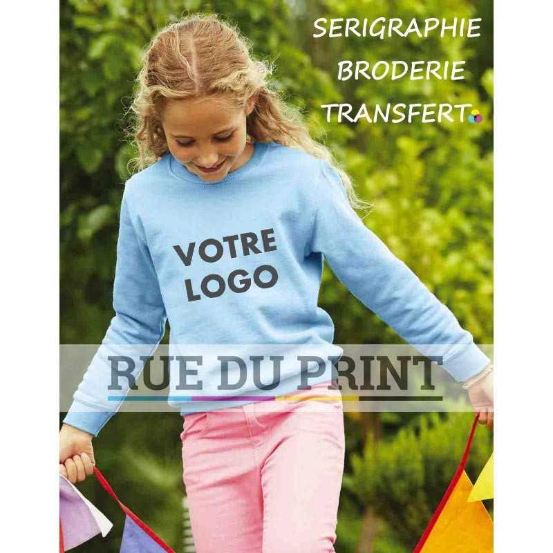 Sweat shirt publicité enfant manches set-in 280 g/m2 80% coton fil Belcoro®, 20% polyester bord côte en coton/lycra® à la tail