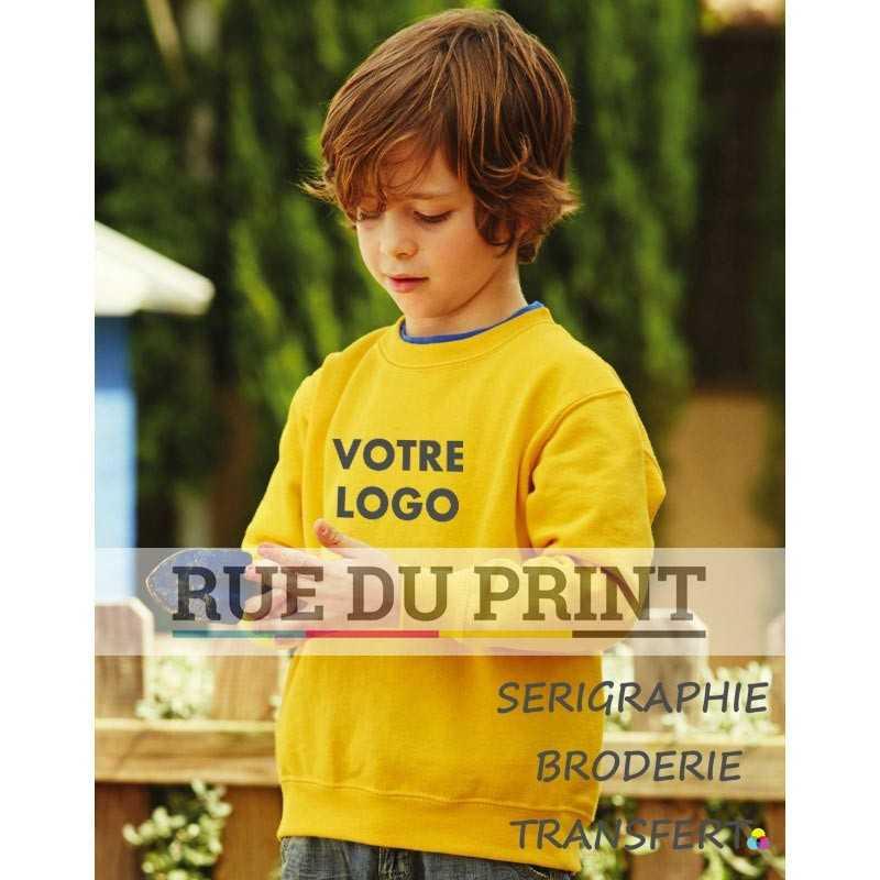 Sweat shirt publicité enfants manches Set-in 280 g/m2 70% coton ringspun, 30% polyester confortable et sans couture