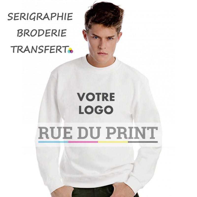 Sweat shirt publicité ras de cou 280 g/m2 80% coton peigné ringspun, 20% polyester manches set-in col bord côte