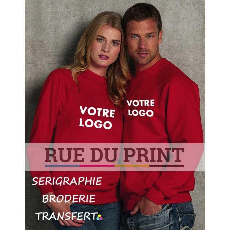 Sweat shirt publicité manches Raglan 295 g/m² 50% coton peigné ringspun, 50% polyester (Light Oxford: 47% coton, 53% polyester)