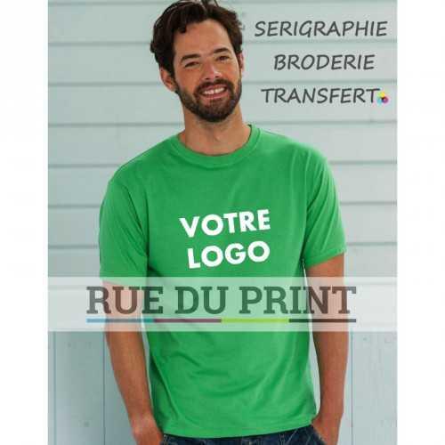 Tee-shirt publicité vert pomme profil poids léger 145 g/m² (White: 140 g/m²) 100% coton ringspun bord côte à l'encolure