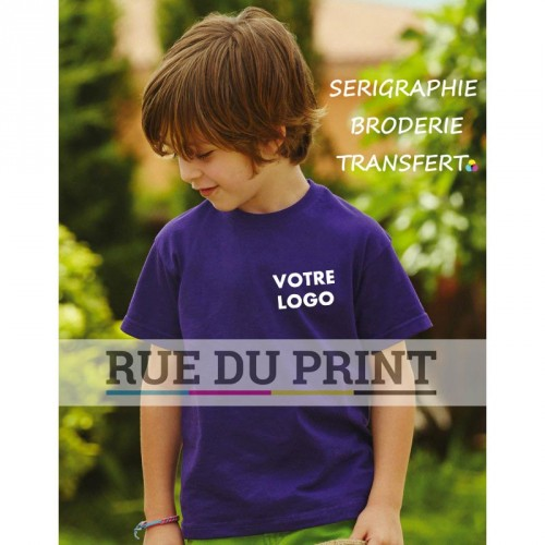 Tee-shirt publicité pourpre profil enfant coupe ample 165 g/m² (White: 150 g/m²) 100% coton (fil Belcoro®) Heather Grey: 97% c