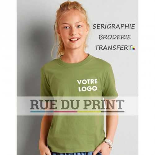 Tee-shirt publicité kiwi profil enfant Spun 150 g/m2 (Blanc: 141 g/m2) 100% coton ringspun (Sport Grey: 90% coton, 10% polyeste