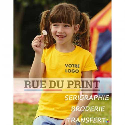 Tee-shirt publicité jaune tournesol profil enfant fille 165 g/m2 (White: 160 g/m2) 100% coton (fil Belcoro®) encolure bord côt