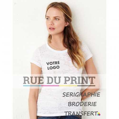 Tee-shirt publicité blanc profil Burnout 75 g/m2 55% coton peigné ringspun, 45% polyester col rond avec bord côte