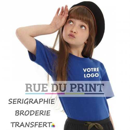 Tee-shirt publicité bleu profil enfants 145 g/m² 100% coton ringspun (Ash: 99% coton, 1% viscose) bord côte 1x1 à l'encolure