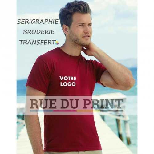 Tee-shirt publicité rouge profil Original 145 g/m² (White: 135 g/m²) 100% coton (fil Belcoro®), (Heather Grey: 97% coton, 3% po