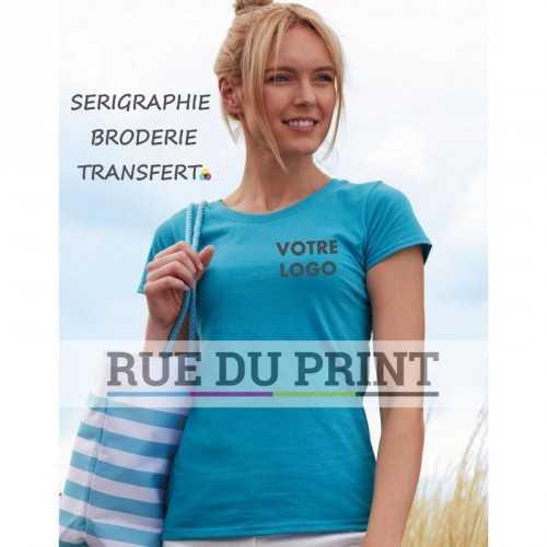Tee-shirt publicité azur profil femme Original 145 g/m² (blanc: 135 g/m²) 100% coton (fil Belcoro®) Jauge de maille fine pour