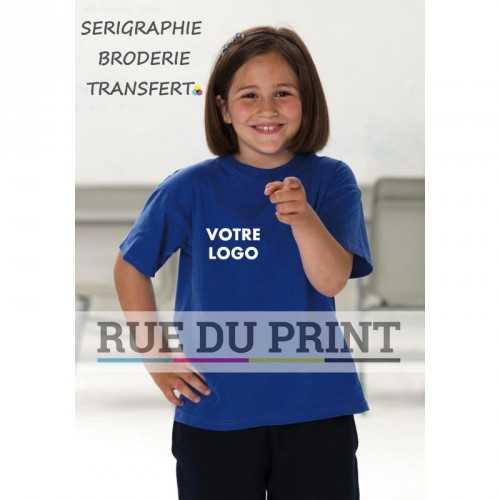 Tee-shirt publicité bleu royal profil léger enfant 150 g/m2 (White: 145 g/m2) 100% coton ringspun bord à l'encolure