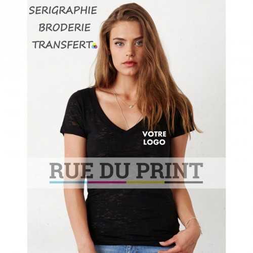 Tee-shirt publicité noir profil col V Burnout 105 g/m2 55% coton peigné ringspun, 45% polyester large décolleté V bordé