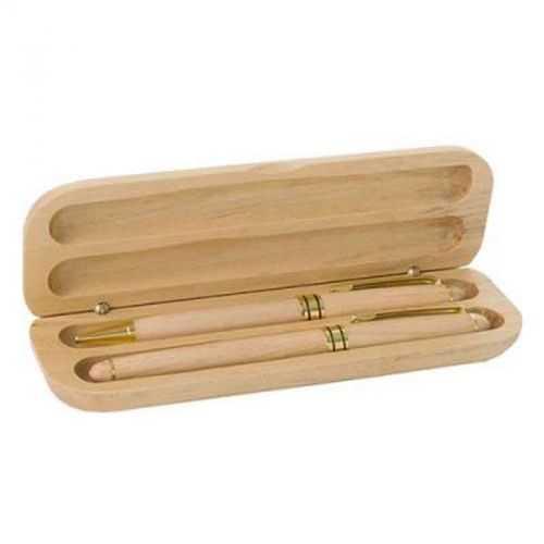 Parure bois stylo bille/roller bois clair
