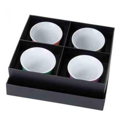 Set 4 mini tasses aspect gomme noir