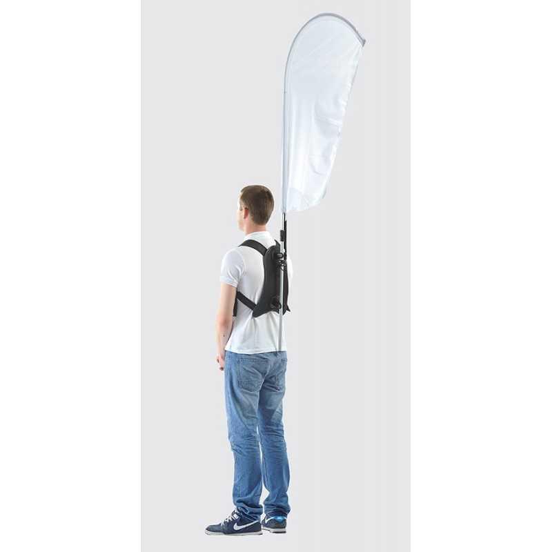 Drapeau sac à dos -drapeaux publicitaires blanc