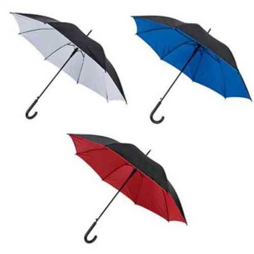 Parapluie canne double toile noir/blanc