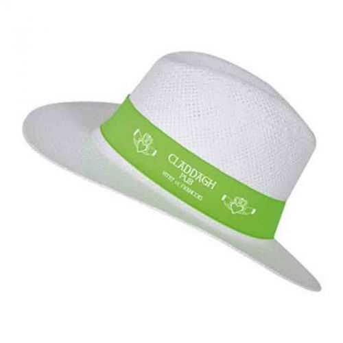 Chapeau publicité borsalino blanc/bleu roi Taille adulte 57 env. Bandeau 61 x 5 cm Papier cellulose