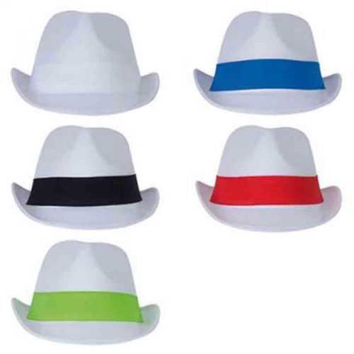 Chapeau publicitaire événementiel blanc/blanc Taille adulte 58 env. Bandeau 65,5 x 2,5 cm 60% Prolypropylène 40% Polyester