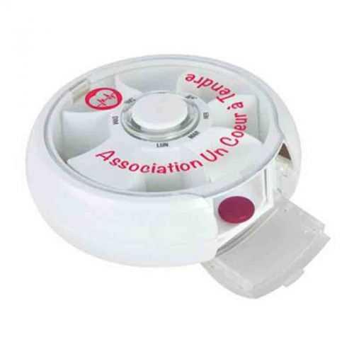 Pilulier semainier rotatif blanc