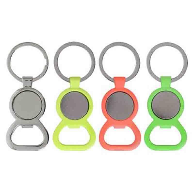 Porte-clés jeton décapsuleur métal brillant