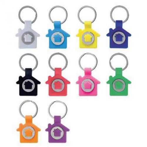 Porte-clés jeton maison blanc/métal