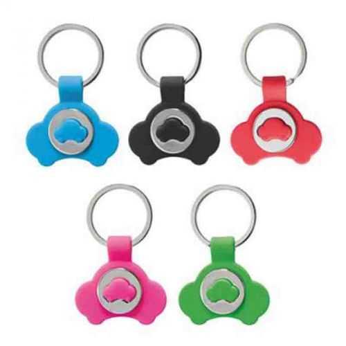 Porte-clés jeton voiture turquoise/métal