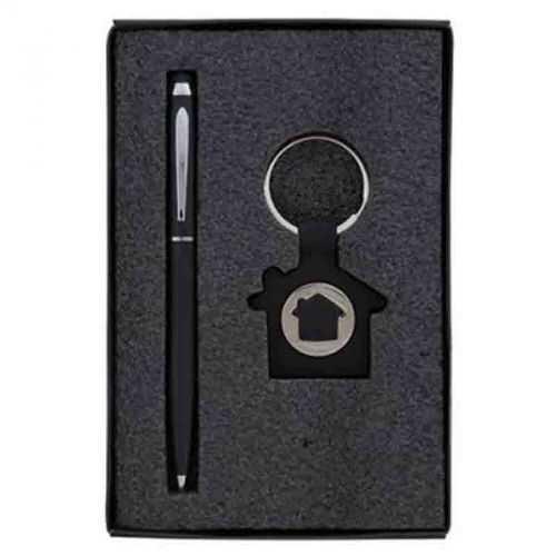 Parure stylo/porte-clés jeton maison noir/métal