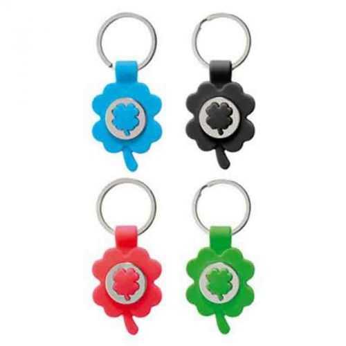 Porte-clés jeton trèfle bleu/métal