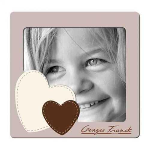 Cadre photo magnétique blanc personnalisé visage/coeur
