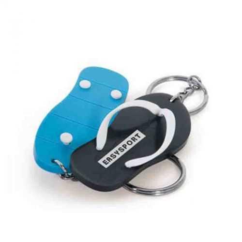 Porte-clés tong souple bleu clair/blanc
