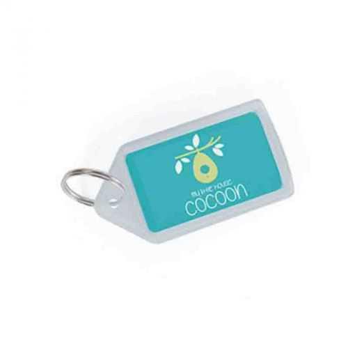 Porte-clés insert papier transparent blanc
