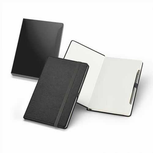 Bloc-notes noir + stylo métal