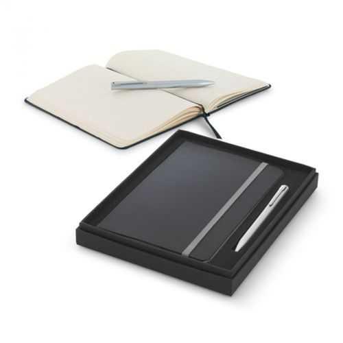Coffret stylo à bille et bloc-notes gris