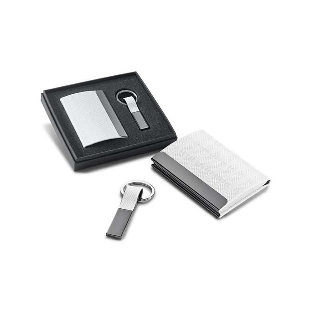 Le coffret porte carte de visite blanc et porte cl s de - Porte carte de visite de bureau ...