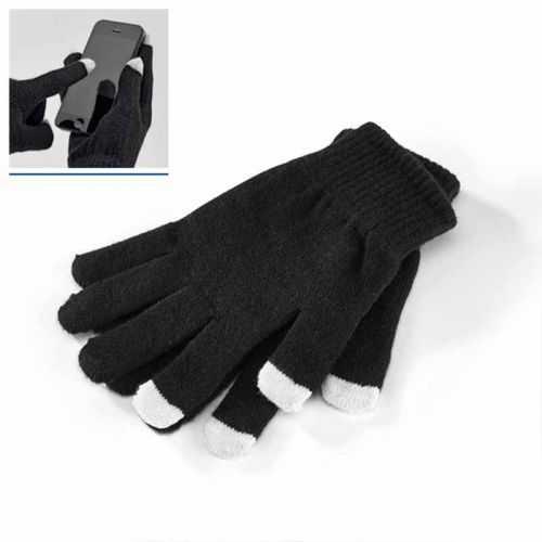 Gants personnalisés noir maille synthétique Avec pointe touch. Taille: 8