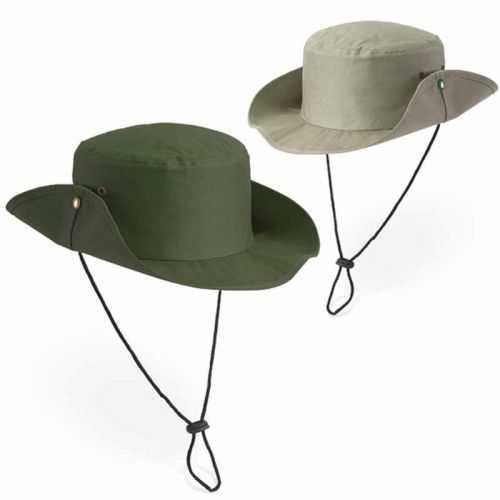 Chapeau personnalisé beige, vert avec cordon réglable 160 g/m²