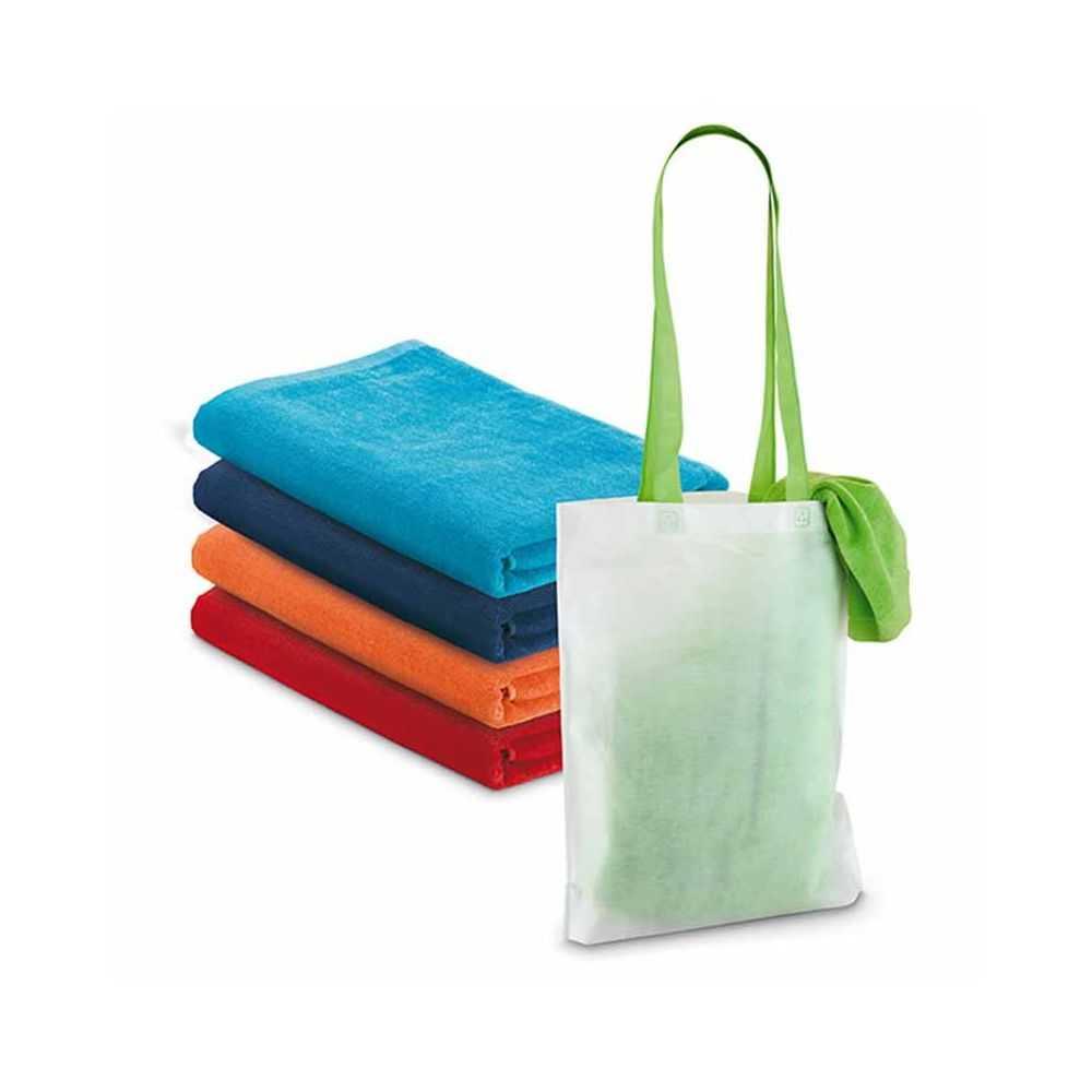 serviette personnalis e de plage coton avec sac en non tiss. Black Bedroom Furniture Sets. Home Design Ideas