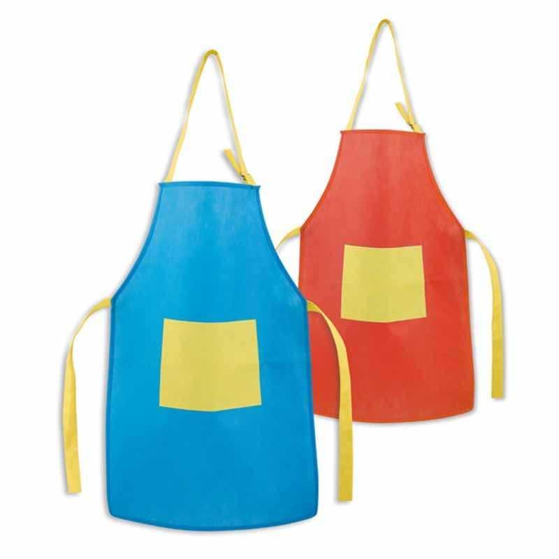 Tablier personnalisé non tissé pour enfant bleu, rouge, poids 80g/m² avec une poche