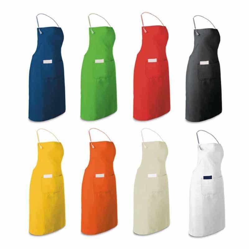 Tablier personnalisable ajustable noir, bleu, rouge, blanc, jaune, orange, avec 2 poches 150g/m²