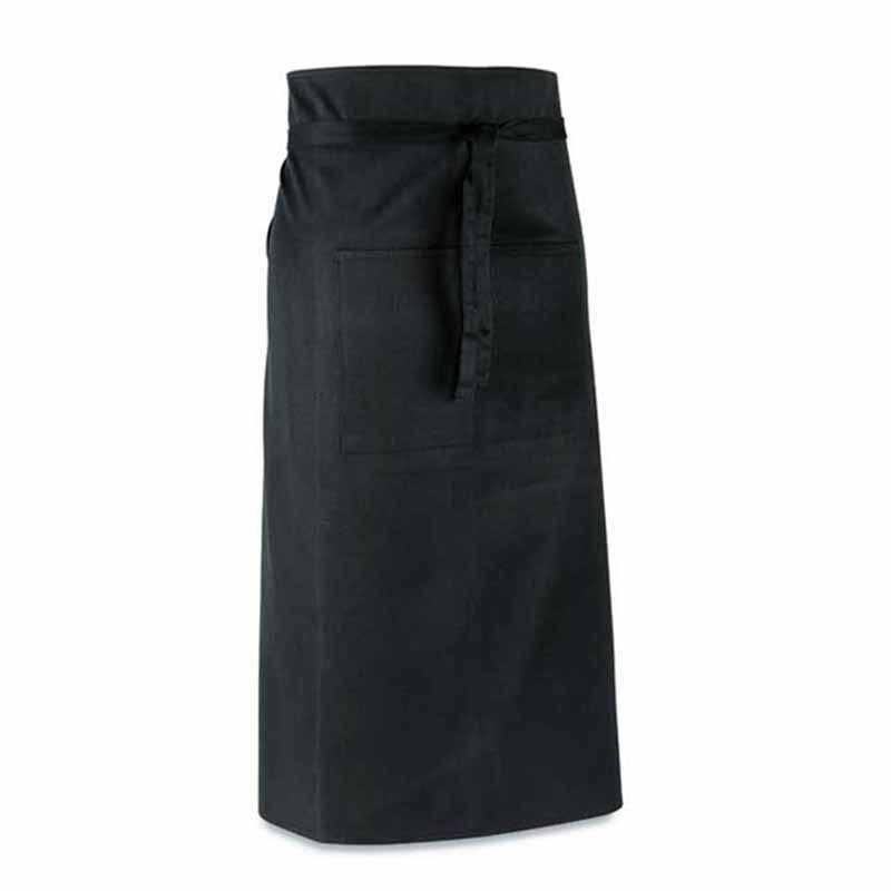 Tablier personnalisable de bistrot noir 145g/m² avec 2 poches