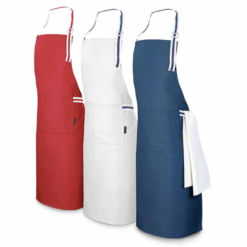 Tablier + 2 poches personnalisé bleu, blanc, rouge ajustable 150g/m²
