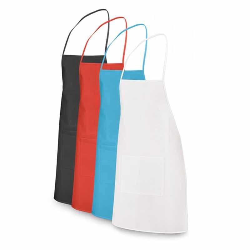 Tablier + 1 poche personnalisable noir, blanc, rouge, bleu clair non-tissé 80 g/m²