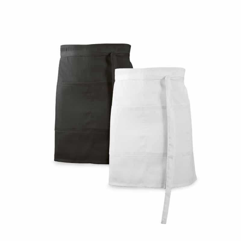 Tablier court de bistrot personnalisable noir, blanc 150g/m² avec 2 poches