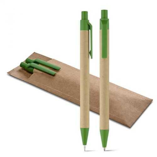 Set écologique stylo à bille et porte-mine vert LEAF