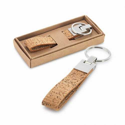 Porte-clés écologique en liège et métal