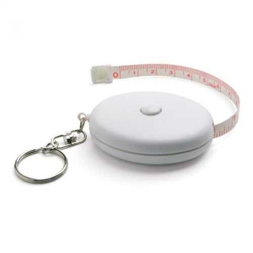 Porte-clés blanc avec ruban à mesurer