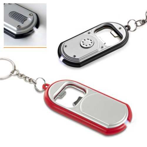Porte-clés avec lampe à LED et décapsuleur