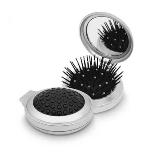 Miroir de maquillage + brosse pliable blanc argenté