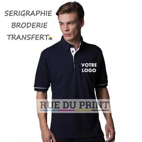 Contrast Button Down Collar Polo publicité 65% polyester, 35% coton (piqué), 185 g/m²