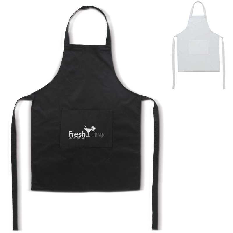 Simple tablier personnalisable noir, blanc avec poche sur le devant coton avec polyester 35% coton et 65% polyester 106g