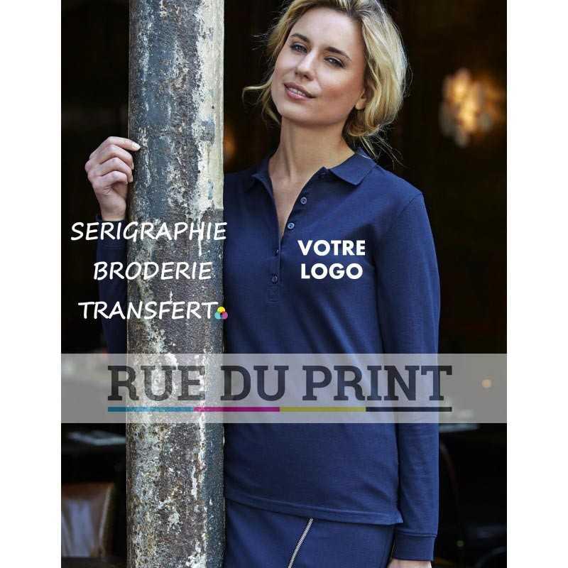 Polo publicité femme Luxe S-L 95% coton ringspun, 5% élasthanne, 215 g/m² piqué compact prérétréci